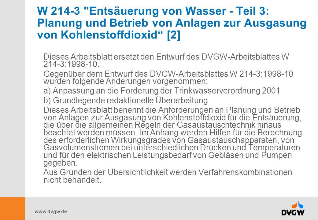 W 214-3 Entsäuerung von Wasser - Teil 3: Planung und Betrieb von Anlagen zur Ausgasung von Kohlenstoffdioxid [2]